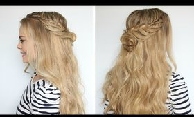 Romantic Hairstyle: Half-Up Flower Bun