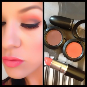 Folie (brown) & Red Brick (orange) eyeshadows and Coral Bliss lipstick