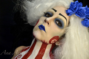 Hi guys! I'm not from the US, but a 4th of July look was requested on my Facebook makeup page: http://www.facebook.com/pages/Ana-Arthur-Make-up-Artist/ by Deana B.   I wanted to make this different and crazy so when I thought of the US flag with the red and white stripes I immediately thought of Tim Burton, so I got inspired in his style and did this look. Hope you enjoy!