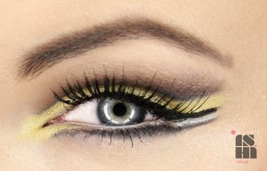 open cut crease with yellow eyeshadow and winged liner