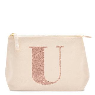 Rose Gold Glitter Initial Makeup Bag Letter U