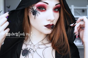 Video tutorial available on my channel, youtube.com/madeyewlook! Enjoy! Spiders are drawn on with eyeliner and eyeshadow :)