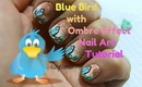 Blue Bird with Ombre Effect Nail Art tutorial