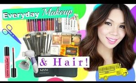 EVERYDAY SCHOOL MAKEUP + HAIR ROUTINE! | $500 Beauty Giveaway!