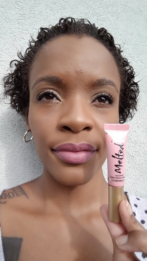Mixed with a berry lip liner to make it more wearable on deeper skintones.