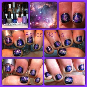 My blurple version of my galaxy nails. Had fun on this and it came out well on my sister's tiny nails! Not able to list the spoiled polish- the parking meteor expired on top left and bottom right china glaze's smoke and ashes.
