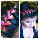 Neon ombré French braid
