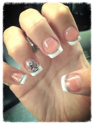 French manicure with a crown.