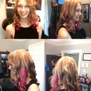 Pink peek-a-boo, blonde foils