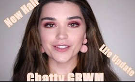 RED EYESHADOW LOOK. GRWM and a Chat.
