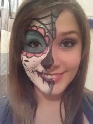 Half sugar skull look