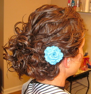 Updo on Curly Hair with Flower