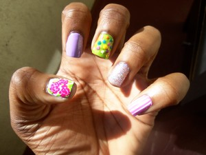 my attempt at easter/spring nails i guess? lol :D