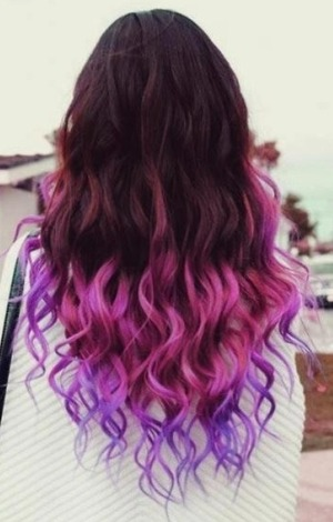 Pink and purple dip dye with soft wavy curls :)