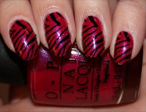 See more photos here: http://www.swatchandlearn.com/nail-art-pink-black-zebra-nails-using-konad-image-plate-m57/