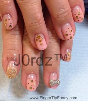 DETAILS HERE:  http://fingertipfancy.com/nude-pink-gold-studs-nails