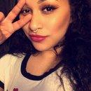 Half face makeup.