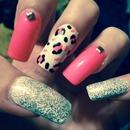 Girly, Leopard, Rhinestone, Glittery nails! :)