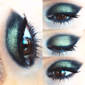 Hello! I love green eyeshadows and they go really well if you have brown eyes...I used a metallic green eyeshadow but I also wanted to create a more cat eyed look so I used a matte black eyeshadow on the outer corner to make a statement!! Hope you like!