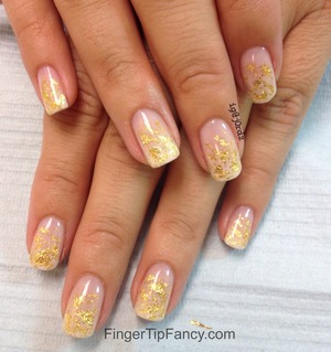 DETAILS HERE:  http://fingertipfancy.com/gold-flake-nails