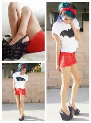 Forever 21: Bat Crop Top , Size S  Forever 21: Red shorts , Size 24  Forever 21: Rose Open Toed Wedges , Size 7  Bandana from bf / gf  Make up just a basic look .