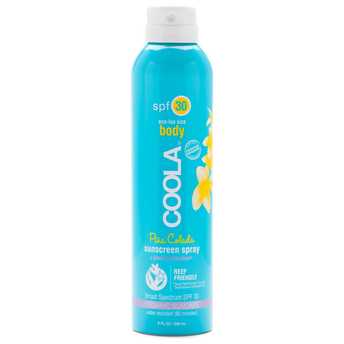 COOLA Eco-Lux Sport Sunscreen Spray SPF 30 Piña Colada product swatch.
