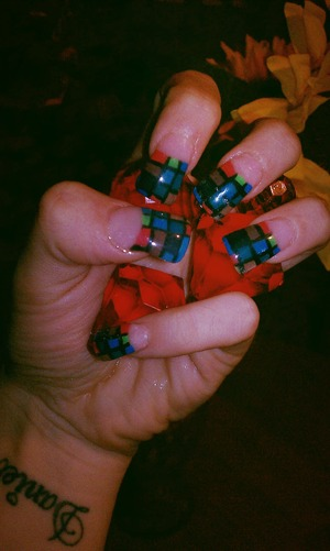 different color checkered nails