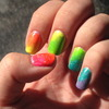 Neon Rainbow Gradient Nails