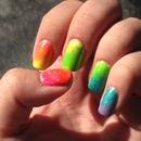 Neon Rainbow Gradient Nails