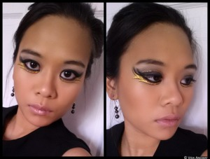 My Catching Fire inspired look.  The Lipstick is from Kat Von D's Painted Love Lipstick line and the color (which has been discontinued) is Celebutard.