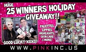 HUGE 25 Winners Xmas Holiday New Year Giveaway! Palettes, Lippies, Highlights, & More!| Tanya Feifel