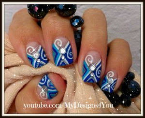 Winter Nail Art Design | Blue Abstract Nails How To