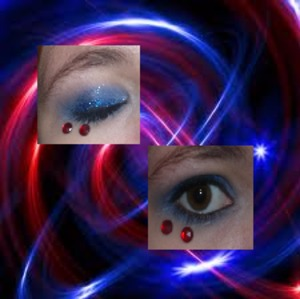 Blue eyeshadow with black eyeliner and mascara with blue glitter above the black eyeliner with red rhinestones