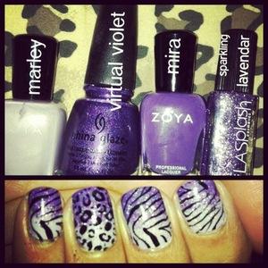 Zoya, China Glaze and LA Splash. Konad stamped.