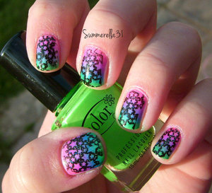 Color Club neon gradient stamped with black