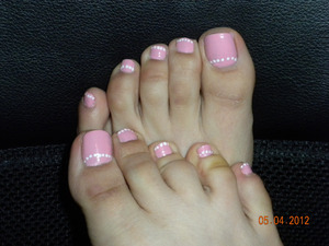 OPI Pink Friday with white pearl detailing