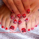 Tattoo Element Red Nail Art For Short Nails
