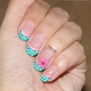Teal and Pink Girly Nail Design