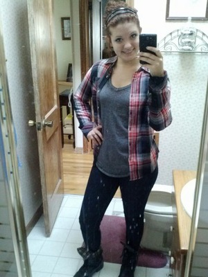 I like to get a little edgy sometimes, and so I tried to add 'biker' boots with the 'lumberjack' look lol