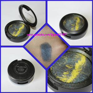 mineral eyeshadow with lime green and midnight navy blue.