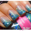 Darling Diva Polish Water Dragon over Girly Bits Cosmic Ocean