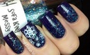 Easy Snow Nail Art - Snowflake Nails Stamp Konad Winter Snow Nail design Let It Snow White Winter