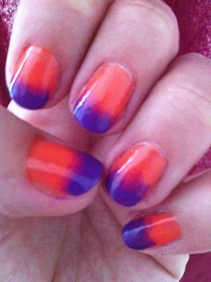 Orange and Purple First attempt, I think it came out pretty well!  Orange: NYC 112A Purple: Fashion Colors  Color Club Vivid top coat