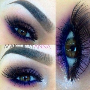 Beautiful purple eyeshadow for any eye colour then a perfect line of electric blue eyeline for stand out eyes