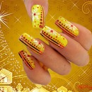 Yellow Christmas Snowflake Nails