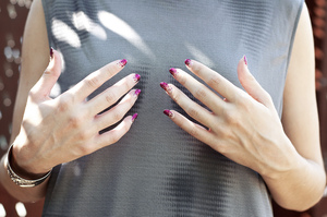 Nails NYX in Nude White Jordana in Confetti Revlon top coat  More info here: http://bit.ly/PL9tG6