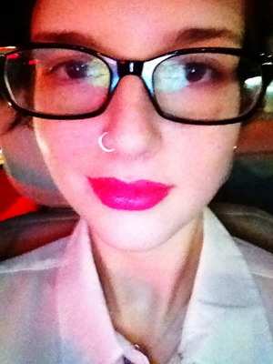 One day in December, I bought a new lipstick. I wasn't actually wearing any makeup but the lippy, though. ^.^;