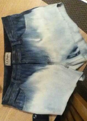 Bought some cheap thrifted high waisted pants & turned them into these cute ombre bleached shorts! Questions on how I made them? Leave a comment (: