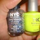 Stary Silver Glitter and Yellow Nail Polish