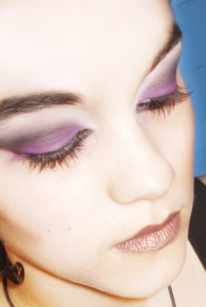 Eyes closed version of the picture Purple People Eater that shows the full range of colors used in this look.